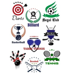 Heraldic badges template for sporting games vector