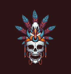 indian skull dayak vector image
