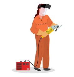 Industrial worker female with grinder tool woman vector