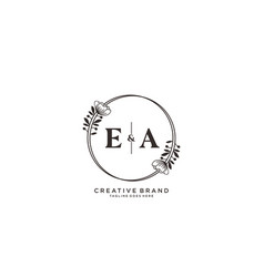 Initial ea letters hand drawn feminine and floral vector