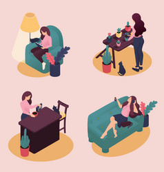 Isometric young women work and study at home vector