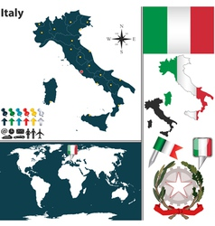 Italy map world vector