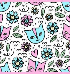 kitten flower cartoon seamless pattern vector image