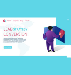 lead strategy conversion horizontal flat banner vector image