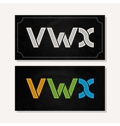 Letter V W X logo alphabet chalk icon set vector
