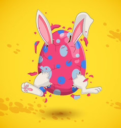 Little bunny in easter egg vector image