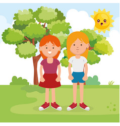 little sisters on park characters vector image