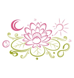 Lotus floral element yin yang vector