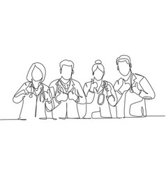 Medical team work concept one line drawing of vector