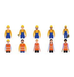 men and women builders avatars people dressed in vector image