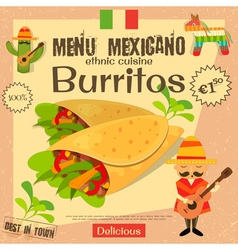 Mexican menu burritos vector