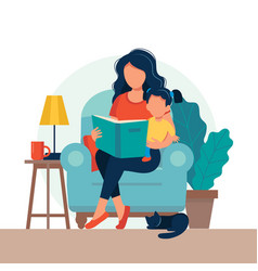 Mom reading for kid family sitting on chair vector