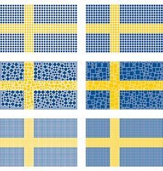 Mosaic Sweden flag set vector