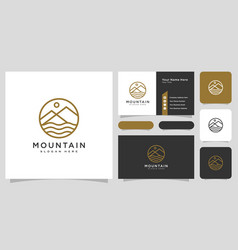 mountain river logo with business card design vector image