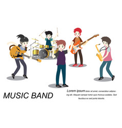 Musicians rock group play guitar singer vector
