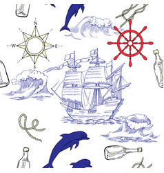 Nautical seamless pattern with sailing vesselsand vector