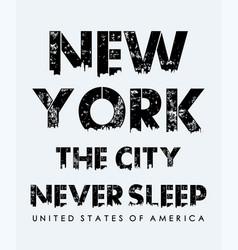 new york never sleep typography slogan vector image