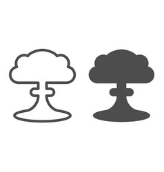 Nuclear explosion line and glyph icon radioactive vector
