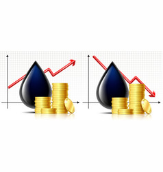 oil barrel price graphics and black drop and black vector image
