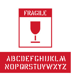 Package fragile stamp with cargo alphabet for vector