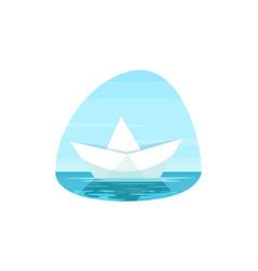 paper boat semi flat vector image