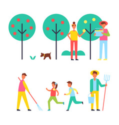 People taking care about trees in garden icon vector