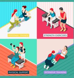 Personal sport trainer 2x2 design concept vector