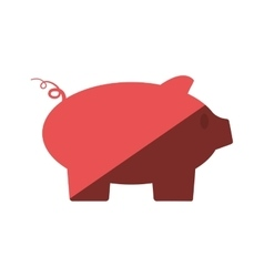 Pink piggy money bank flat icon vector