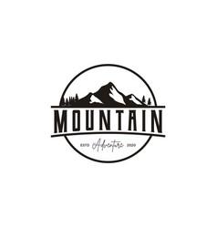 retro vintage badge mountain adventure travel vector image