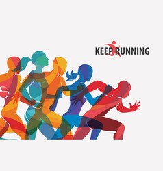 Running people set of silhouettes sport and vector