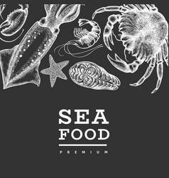 Seafood design template hand drawn seafood on vector
