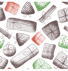 seamless pattern of various sketch gifts vector image