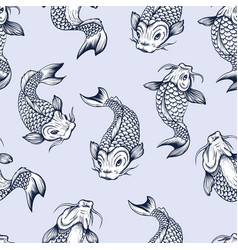 seamless pattern with fish koi japanese vintage vector image