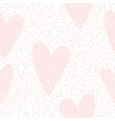seamless pattern with swirles and hearts vector image