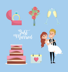 set just married with things to ceremony vector image