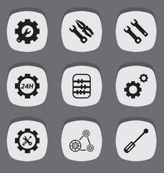 Set of 9 editable toolkit icons includes symbols vector