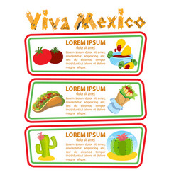 Set of banners with traditional mexican dishes vector
