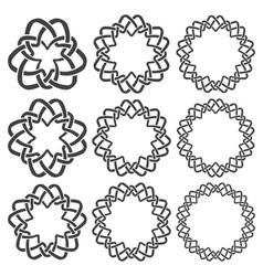 Set of magic knotting rings nine circular vector