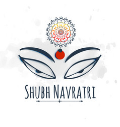 shubh happy navratri celebration design with maa vector image