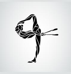 Silhouette art rhythmic gymnastic girl vector