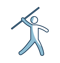 Silhouette of athlete practicing javelin throw vector