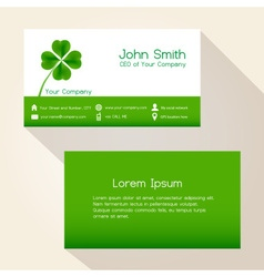 Simple nature green cloverleaf business card vector