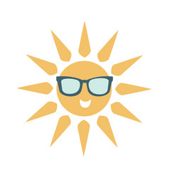 Simple sun icon with face wearing dark shade vector