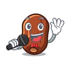 Singing dates fruit mascot cartoon vector