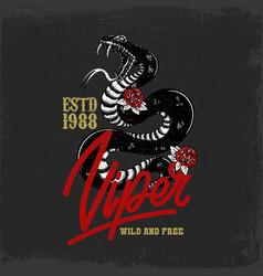 Snake head cobra python viper in vintage vector