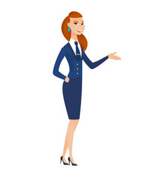 stewardess with arm out in a welcoming gesture vector image