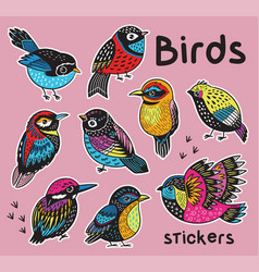 Sticker set with hand drawn exotic birds vector