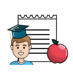 student with hat graduation notebook papper and vector image