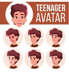 Teen girl avatar set face emotions school vector
