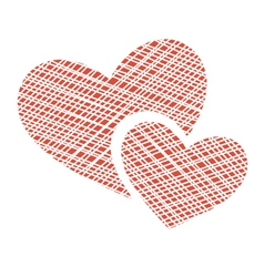 Two netting hearts on white vector image